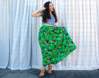 Vintage 60s Neon Maxi Skirt - Bright Green Floral Skirt Spring Summer - SM