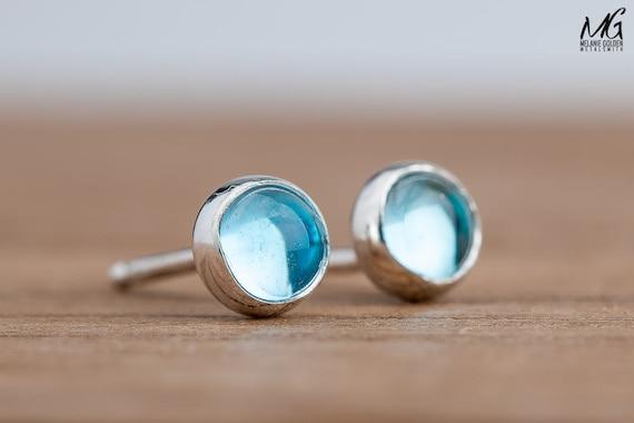 Aqua Blue Topaz Gemstone Stud Earrings in Sterling Silver