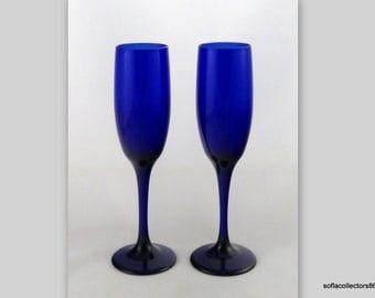 Libbey Premiere Cobalt Blue Tulip Shape Champagne Glasses - Vintage Libbey Stemware (pair)
