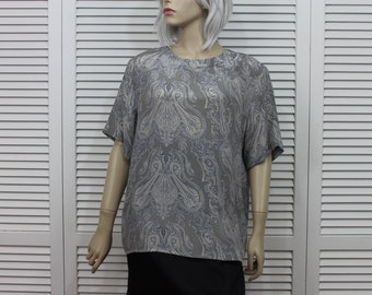 Vintage Silk Blouse Womens Size XL Short Sleeves 90s Silver Gray