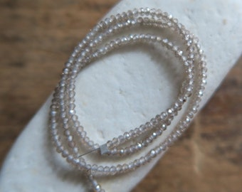 """AAA STUNNING Champagne Zircon Gemmy Petite Micro Faceted Rondelles, 2.5mm, 13"""" Strand"""