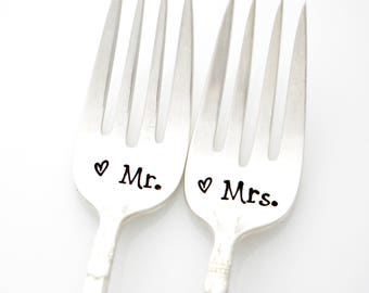 Mr and Mrs Gifts. Hand Stamped Wedding Fork Set.