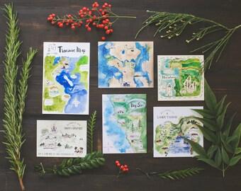 Custom Watercolor Wedding Maps