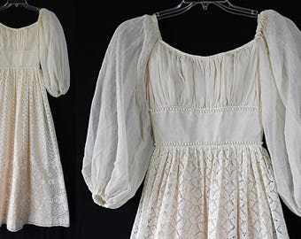 60s Mike Benet Formals, Juliet Dress, Vintage Wedding, Bridal Gown Hippie Boho Festival