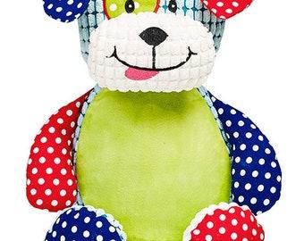 Personalised Embroidered Harlequin Dog, puppy Cubbies, Baby, gift, New Baby, soft, Stuffed, Animal, Keepsake, Christening, Wedding, Birthday