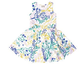 Wandering Floral Twirling Dress on White - Hand Printed - Organic Dress - Easter Dress - Eco - Slow Fashion - Twirling Dress - Thief&Bandit®