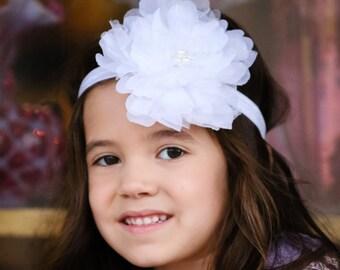 White Peony Headband - Flower Headband, Girl's Headband, Soft Headband, White Flower Headband, White Flower, Special Occasion Headband