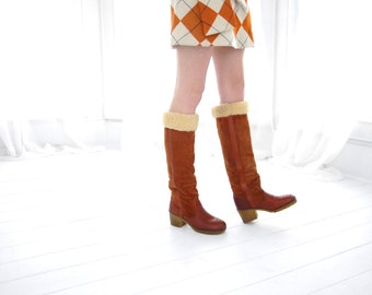 Vintage tall rust suede boots, faux shearling fur insulated, 1970s boho, orange leather, heels, 8