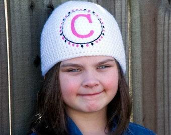 Polka Dot Monogram Hat - Custom Beanie  - Monogrammed Gift for Her - Embroidered Monogram Hat - Personalized Girl Gift - Winter Hat Toddler