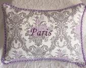 Paris Pillow, Throw Pillow, Purple, Grey, Piping, Handmade