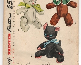 1940's Simplicity Rabbit, Dog and Cat Stuffed animal Pattern - No. 2239