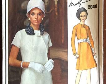 """1960's Vogue Paris Original Mod One-Piece Dress Pattern - Bust 32.5"""" - MOLYNEAUX - No. 2040"""
