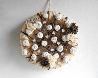 Wreath door decoration web fabric flowers plaster hearts