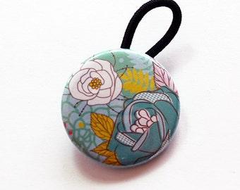 Floral Ponytail Holder, floral hair elastic, Hair Elastic, Pony tail holder, stocking stuffer, flowers, floral, seafoam green (6123)