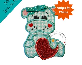 Teal and white hound tooth pattern girl hippo with bow-valentine's day- holiday- iron on applique-ready to ship, embellishment,glitter heart