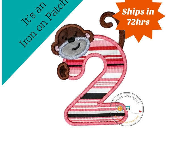 Peeking monkey birthday number 2, iron on number two patch for kids birthday, embroidered fabric applique for clothing, Minky monkey