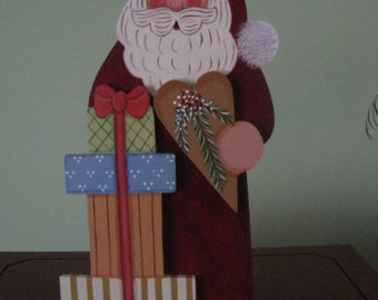 Santa, Santa Claus,  Christmas, sitter, shelf sitter, home decor, wood, handpainted, presents