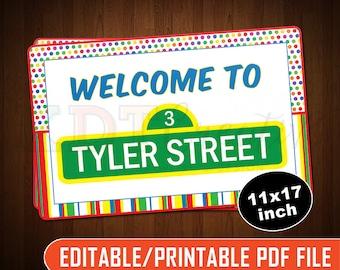 Editable/Printable Sesame Street Sign - 11x17 - KDEDF0007