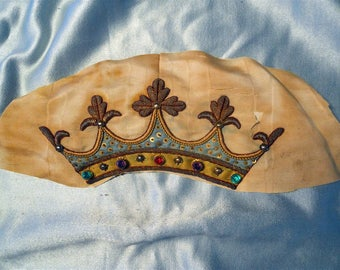 Crown French antique metallic embroidery 5 rhinestones green, purple , red, for pillows