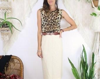 """50s Wool Pencil Skirt, Vintage Pale yellow high waist wiggle skirt, 26"""" waist, Lampl, 3839"""