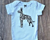 Pick your DOG BREED!  Custom light-blue short-sleeved baby bodysuit for boy or girl with any dog breed of your choice!