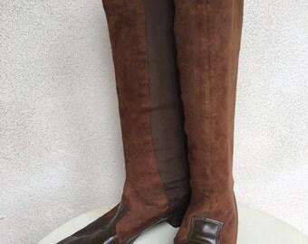 Vintage Mod boots brown suede patent leather shoe heels sz 7N Goloboots
