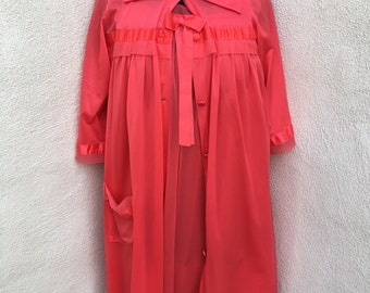 Vintage lingerie set orange shirt robe and gown by Herson's Kickernick sz 32 S/M