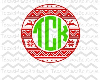 SVG, DXF, EPS, Png, Ugly Sweater Monogram Circle, Christmas, TessieMaes, Cuttable, Cutting File, Silhouette, Circut, Shirt, Holiday,