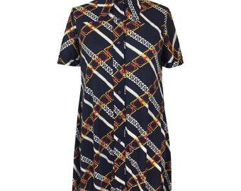 vintage 1970s chainlink shirtdress / La Chat / polyester / collared dress / day dress / women's vintage dress / size medium
