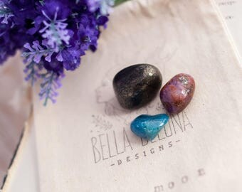 Full Moon Gemstone Kit - Blue Apatite - Pyrite - Ruby - Moon Gemstone - Moon Magic