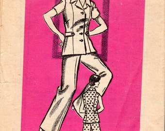 "1970's Women's Top or Jacket and Pants Pattern -Size 12 1/2, Bust 35"" - Mail Order Pattern 9338"
