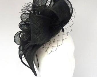 NATALIE - Black Diamond Shape Fascinator Hatinator Hat Headpiece for Weddings Derby Royal Ascot Kentucky Derby Ladies Day Races