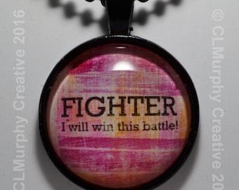 Survivor Fighter Pendant Necklace Jewelry Cancer Survivor Sobriety Necklace Win the Battle Pendant C L Murphy Creative