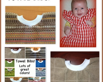 1 Towel bib - BULK DISCOUNT - girl boy - dish towel baby bib dish towel - kitchen towel bib, wholesale discount brown tan