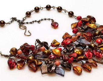 Large Fall Statement Necklace with leaves, Red Nature Jewelry, Autumn Bib Necklace with coral and pearls, Fall Jewelry