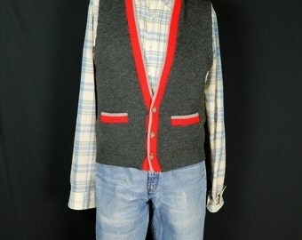 Mens sweater vest  Men vintage hipster clothing V neck buttom down sleeveless cardigan Retro knit vest Gray waistcoat S M