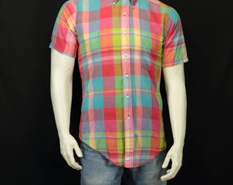 Men madras plaid shirt Short sleeve casual down collar shirt 80s men vintage clothing Summer preppy cotton button up shirts Pink green blue