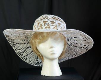 Crochet beach wedding hat Boho summer floppy hats Victorian tee party lace hat Woman derby hats Wide brim cotton sun hat White crochet hat