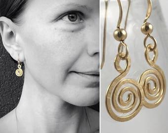 Gold Filled Spiral Earrings - 14k Yellow Gold Filled - Koru Spiral -  Hammer Formed - Subtle Hammered Texture