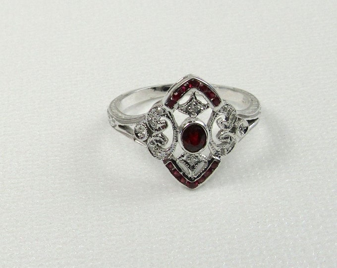 Ruby and Diamond White Gold Filigree Ring; Ruby Ring; Filigree Ring; July Birthstone; Ruby and Diamond Ring; Ruby; Ring