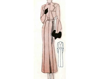 Plus Size (or any size) Vintage 1934 Coat/Jacket Sewing Pattern - PDF - Pattern No 1602 Faye