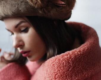 Vintage Russian style brown thick genuine fur round winter hat