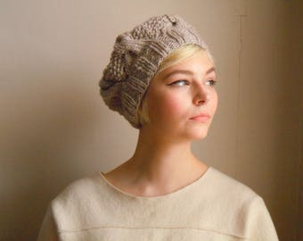 Chunky wool beret - Natural white