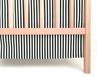 Crib Skirt Black Stripes. Baby Bedding. Crib Bedding. Crib Skirt Boy. Baby Boy Nursery. Black and White Stripe Crib Skirt.