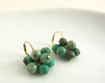 Faceted green chrysoprase cluster earrings, handmade, natural gemstone earrings, gold plated 925 sterling silver and brass