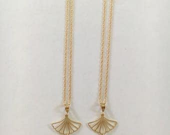 Tahitian Pearl Shell Fan 14kt Gold Fill necklace