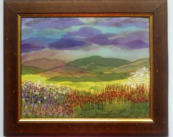 Fiber Art  Textile picture  Wall hanging Embroidery landscape
