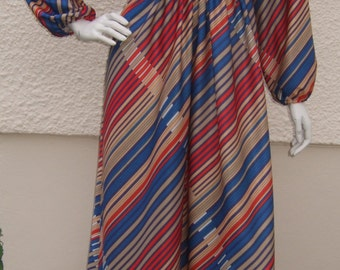Vintage 1970's Coop Fashionsuite Colourful Art Striped Maxi Dress UK 10 EU 38 US 6