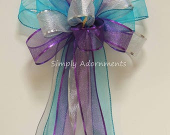 Purple Blue Silver Party Decor Teal Purple Wedding Pew Bow Turquoise Purple Pew Bow Birthday Party Decor Purple Bridal Shower Bow Gift Bow