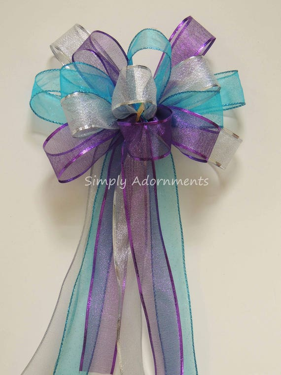 Purple Blue Silver Christmas Bow Turquoise Purple Silver Christmas Tree Topper Bow Christmas Party Decor Teal Purple Birthday Party Decor